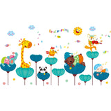 Colorful Cartoon Animals With Clouds and Sun Wall Stickers For Baby/ Kids Room,Home Decorators,[tags] - DeliteShopping