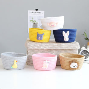 Adorable Cartoon Animals Cotton Rope Woven Storage Basket For Kids/Baby Room,Home Decorators,[tags] - DeliteShopping