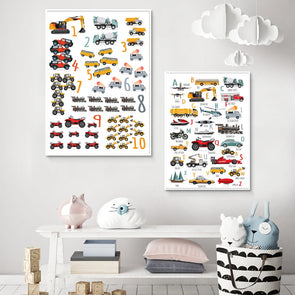Educational Cartoon Vehicles Posters Boy Room Decor Nursery Wall Art