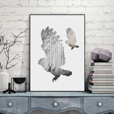 Silhouette of A Flying Owl With Pine Forest Art Print,Home Decorators,[tags] - DeliteShopping