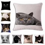 18'' Square Printed Linen Cartoon Cats Cushion Cover Sofa Pillow Case,Home Decorators,[tags] - DeliteShopping