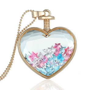Exquisite Love Shape Glass Locket With Star Crystal Pendant Necklace,,[tags] - DeliteShopping