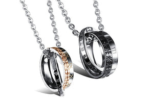 Personalized Double Linked Circles Name Necklace Gifts For Couple,,[tags] - DeliteShopping