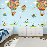 Colorful Hot Air Balloon Cartoon Animals Wall Stickers For Kids Nursery Room,Home Decorators,[tags] - DeliteShopping