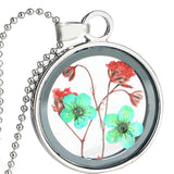 Dried Flowers Round Glass Pendant Necklaces Gift For Women Best Friend,,[tags] - DeliteShopping