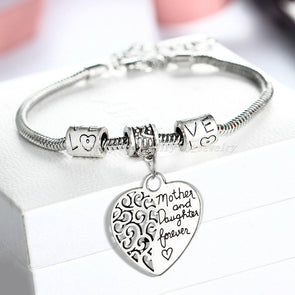 Mother And Daughter Charm Bracelet With Love Beads Mother's Day Birthday Gift,,[tags] - DeliteShopping