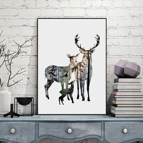 Silhouette of Deer Family with Pine Forest Art Print,Home Decorators,[tags] - DeliteShopping