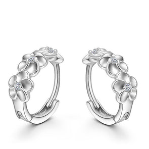 Sterling Silver Woven Flowers Shaped Crystal Hoop Earrings,,[tags] - DeliteShopping