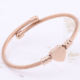Rose Gold Heart Shape Charm Bracelet,,[tags] - DeliteShopping