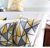 Yellow Geometric Modern Decorative Cotton Linen Cushion Cover,Home Decorators,[tags] - DeliteShopping