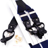 Genuine Leather Navy Blue Men's Suspender,,[tags] - DeliteShopping