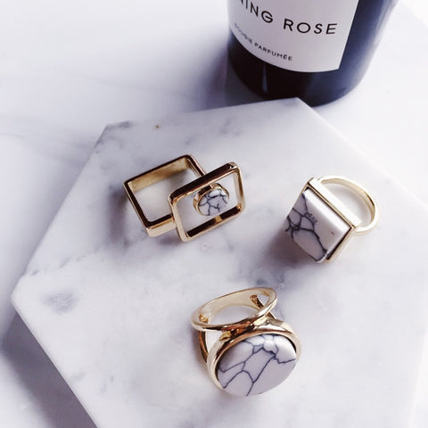 Minimalist Geometric Marble Stylish Rings,,[tags] - DeliteShopping