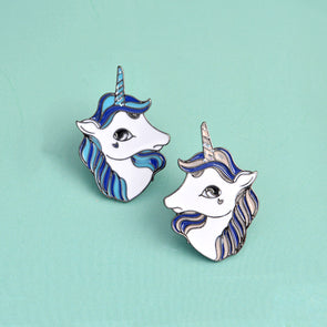 Blue & Purple Unicorn Button Pin Badge Brooch,,[tags] - DeliteShopping