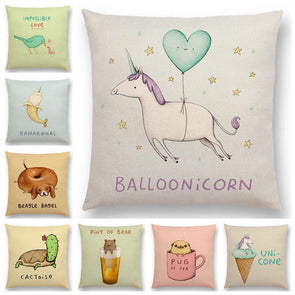 Cute Cartoon Funny & Creative Animals Sofa Throw Pillow Case,Home Decorators,[tags] - DeliteShopping