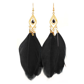 Feathers Dangle Earrings (Black),,[tags] - DeliteShopping