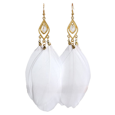 Feathers Dangle Earrings (White),,[tags] - DeliteShopping