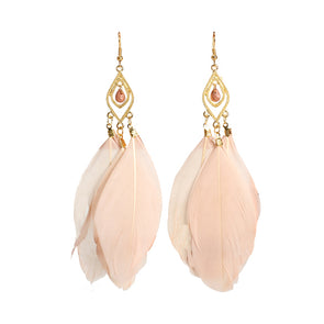 Feathers Dangle Earrings (Apricot Pink),,[tags] - DeliteShopping