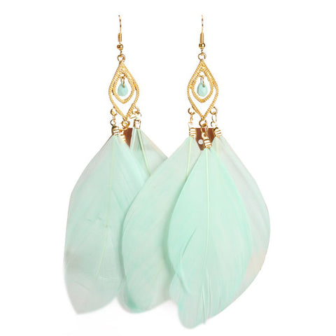 Feathers Dangle Earrings (Soft Green),,[tags] - DeliteShopping