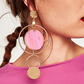 Long Round Circles Modern Trendy Drop Dangle Earrings,,[tags] - DeliteShopping
