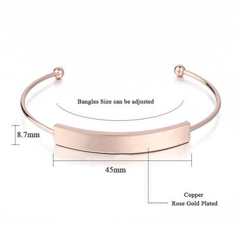 Personalized Engraved Rose Gold Adjustable Bangle Bracelets,,[tags] - DeliteShopping