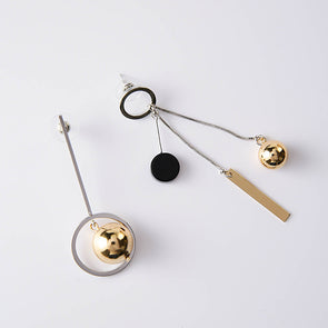 Korean Style Asymmetric Hollow Circle Metal Ball Drop Earrings,,[tags] - DeliteShopping