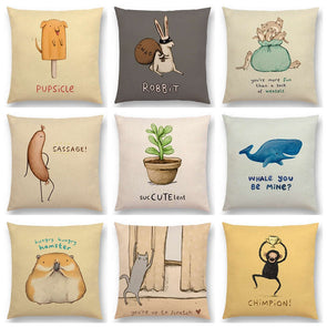 Cute Cartoon Funny & Creative Animals Sofa Throw Pillow Cover III,,[tags] - DeliteShopping