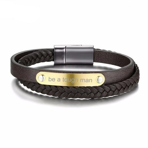 Genuine Leather Personalized ID Tag Bangle for Men,,[tags] - DeliteShopping