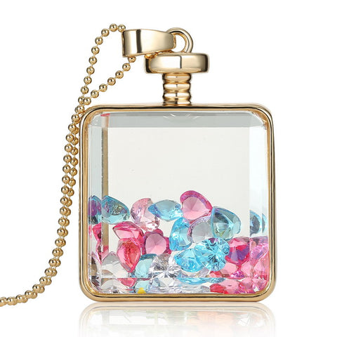 Exquisite Square Glass Pendant Necklace With Jewelry Crystal Inside Lockets,,[tags] - DeliteShopping