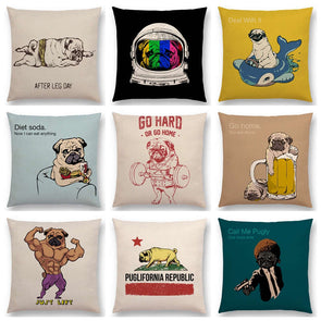 Creative Bulldog Pug Happy Sofa Throw Pillow Case,,[tags] - DeliteShopping