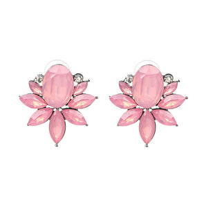 Pink Flowers Plant Stud Earrings,,[tags] - DeliteShopping