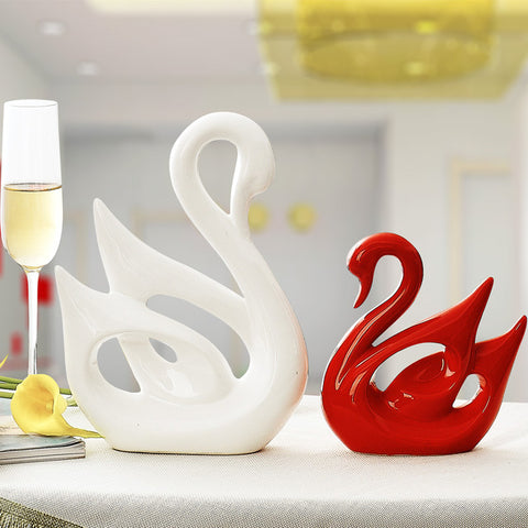 (2pcs/set) Modern Ceramic Couple Swans Statue Ornaments For Home Decorators,,[tags] - DeliteShopping