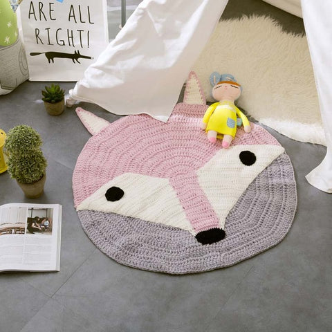 Handmade Cartoon Woven Round Carpet Fox/Bear/Rabbit Mats Kids Room Decor,Home Decorators,[tags] - DeliteShopping