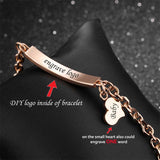 Rose Gold Heart Pendant Personalized Bracelet For Her,,[tags] - DeliteShopping