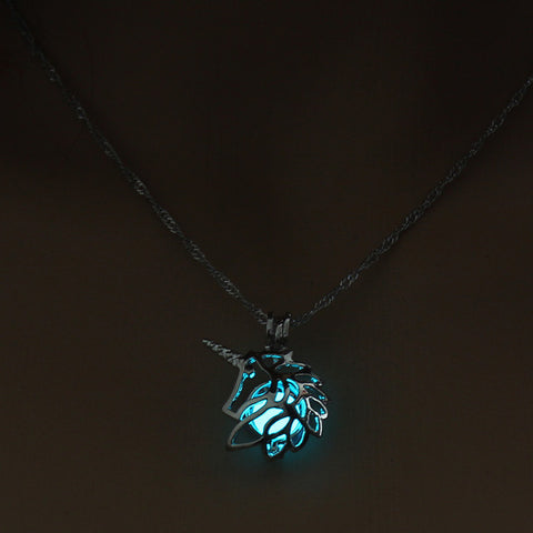 Glow in the Dark Unicorn Silver Chain Necklace,,[tags] - DeliteShopping