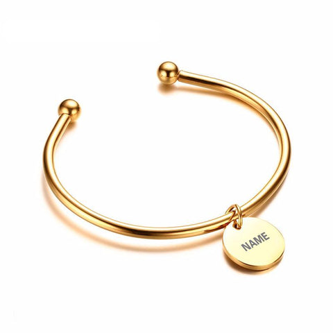 Laser Engrave Personalized Charm ID Women's Bangle/ Bracelet,,[tags] - DeliteShopping