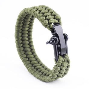 100% Parachute Cord Braided Rope Adjustable Stainless Steel Bangle For Men,,[tags] - DeliteShopping