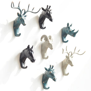 Elegant Deer Rhino Elephant Giraffe Horse Decorative Resin Wall Hook,Home Decorators,[tags] - DeliteShopping