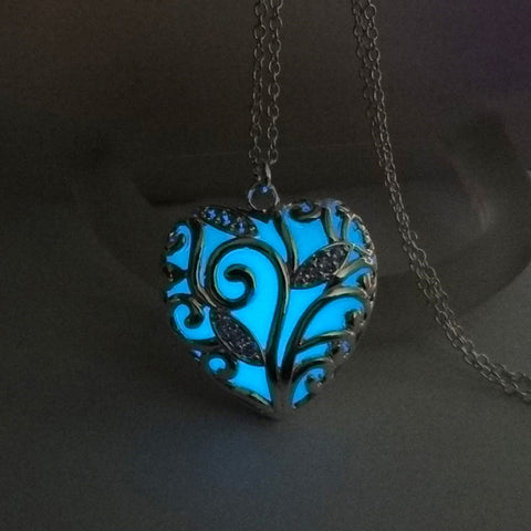 Romantic Luminous Glow In The Dark Hollow Heart Pendant Necklace,,[tags] - DeliteShopping