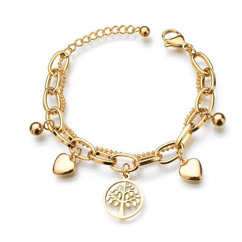 Trendy Gold Heart Pendant Bracelet Gift For Female Friend,,[tags] - DeliteShopping