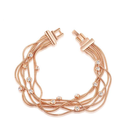 Luxury Rose Gold Multi-layer Chain With Crystal Women Bracelet,,[tags] - DeliteShopping