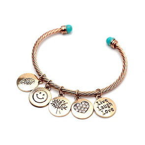 Live Laugh Love Motivational Alloy Twisted Cuff Bangles Bracelet Gift For Her,,[tags] - DeliteShopping