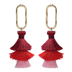 Bohemian 3 Layers Long Tassel Earrings For Women,,[tags] - DeliteShopping