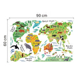 Colorful & Black World Map Wall Stickers For Kids Rooms Living Room Home Decor,,[tags] - DeliteShopping