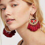 Multi-color Big Fan Tassels Dangle Earrings For Women,,[tags] - DeliteShopping