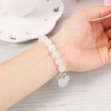 White Bracelet Personalized Heart Pendant Bracelet for Women,,[tags] - DeliteShopping