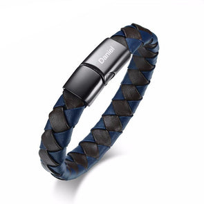 Personalized Braided Leather ID Bangle Gift for Men,,[tags] - DeliteShopping