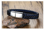 Engravable Name Bracelet Blue Black Braided ID Bangle For Men,,[tags] - DeliteShopping