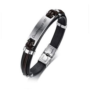 Black Genuine Leather Personalized ID Bangle Gift for Men,,[tags] - DeliteShopping