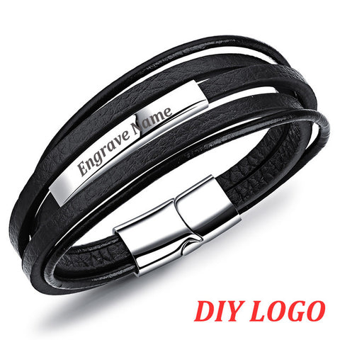 Multilayer Cowhide Leather ID Bangle Gift For Men,,[tags] - DeliteShopping