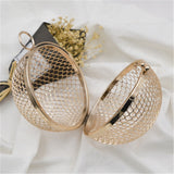 Trendy Unique Metal Hollow Round Golden Cross Body Women Wedding Party Prom Bag,,[tags] - DeliteShopping
